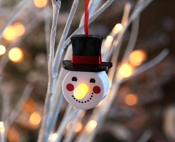 4 Pack Led Flickering Snowman Tealight Ornaments