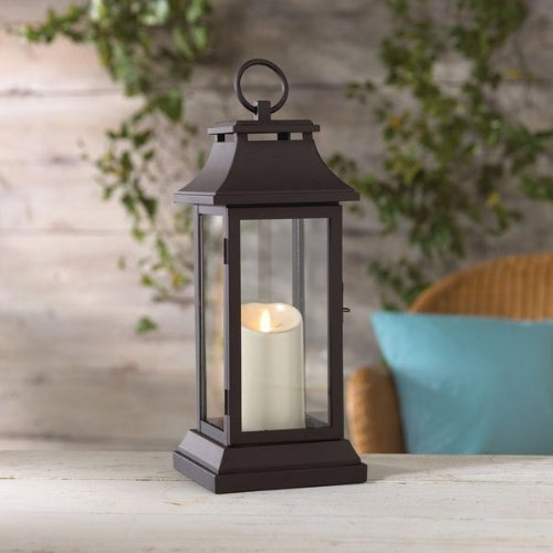 18 Inch Black Lantern With Moving Flame Candle - Timer