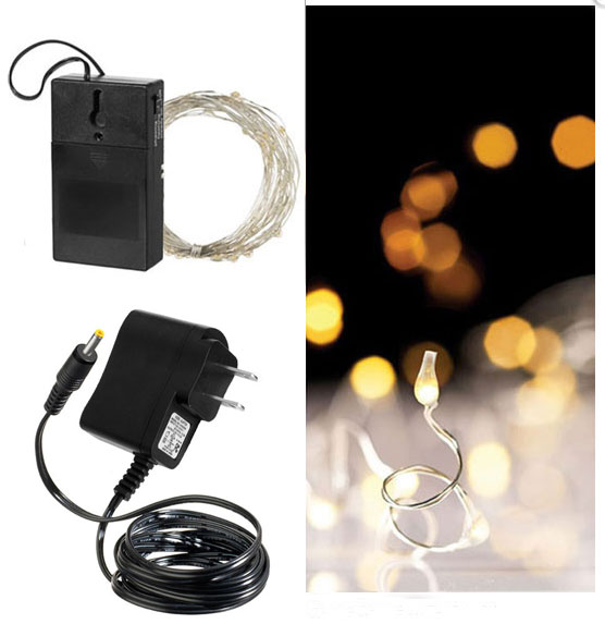 Outdoor String Lights On Timer : 60 Bright White LED String Lights Dual Powered - 20 Feet with Timer - Buy Now