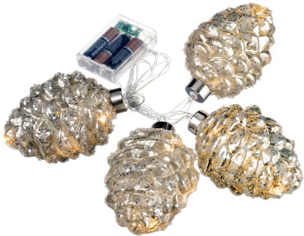 Mercury Glass Pine Cone String Lights - Battery Operated Set of 4 with Timer - Buy Now