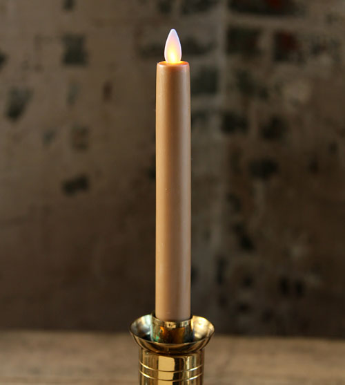 8 Inch Taupe Moving Flame Battery Operated Taper Candle