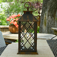 battery operated led candle lantern colonial style 3 tapers antique bronze 12 inch - Outdoor Candle Lanterns