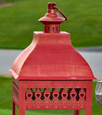 Red Triple Pillar Flameless Outdoor Candle Lantern 28 5