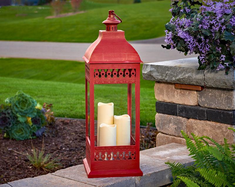 Red Triple Pillar Flameless Outdoor Candle Lantern 28 5