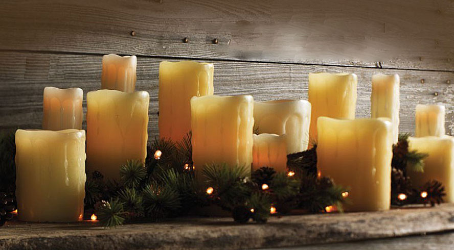 Unscented Ivory Drip 3x8 Battery Operated Candle With Dual