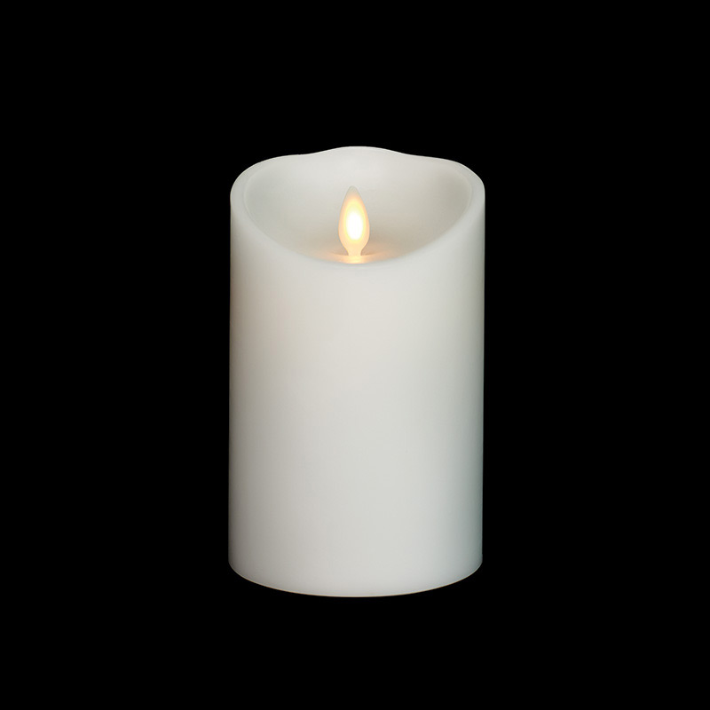 3 Inch Diameter White Moving Flame 4 Inch Candle Remote