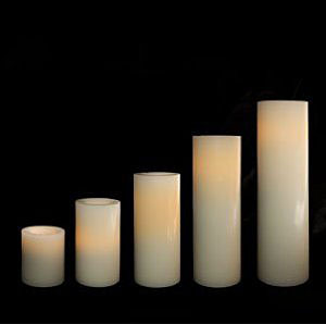 8 Inch Round Candle Impressions White Battery Operated Candle ...
