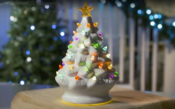 Lighted White Ceramic Dolomite Christmas Tree Optional Music Setting Batteries Incl