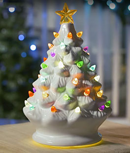 holiday special white ceramic dolomite christmas tree optional music setting batteries incl