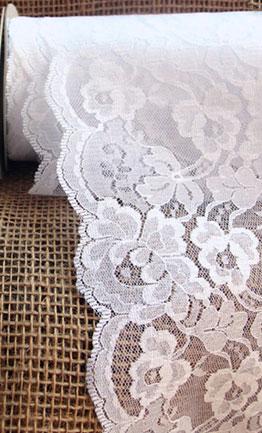 White Lace Ribbon Scalloped Edge 9 Inch X 10 Yard Roll
