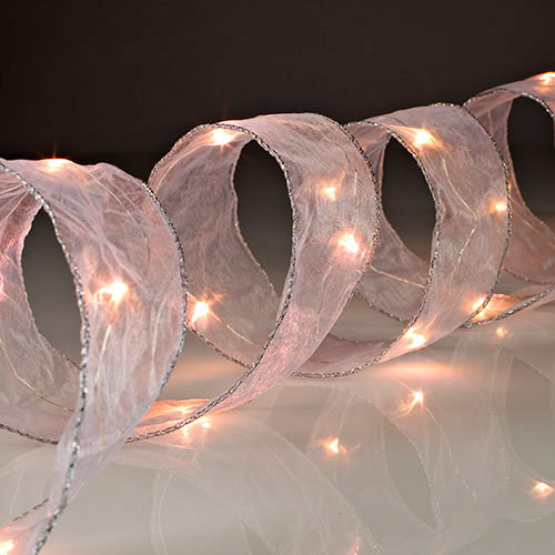 Battery Operated White LED Lighted Ribbon - 7 Foot 20 LED's