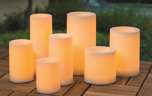 flameless candles with timer Outdoor Candle Impressions White Flameless Candle   5 Hour Timer  flameless candles with timer