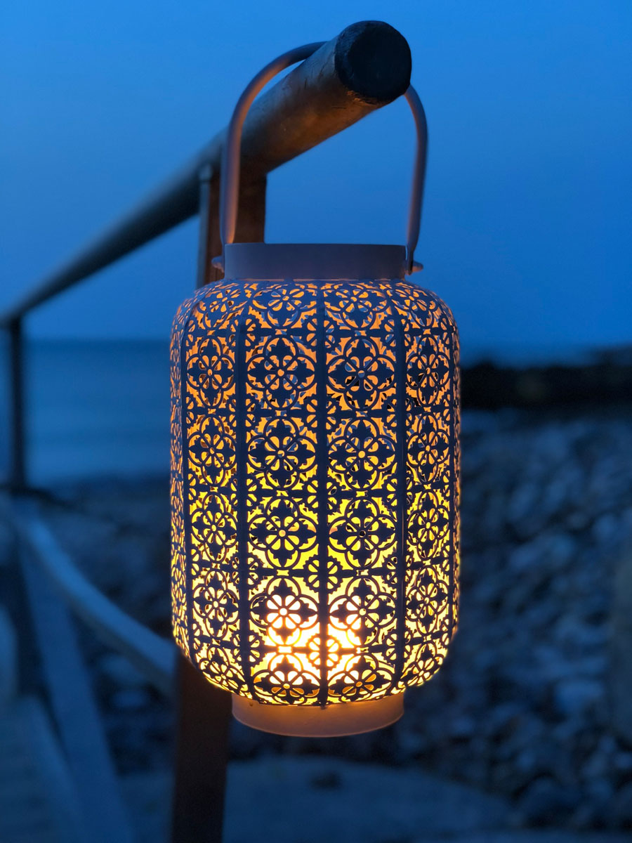 The Wildfire Led Simulated White Metal Lantern Fire Effect