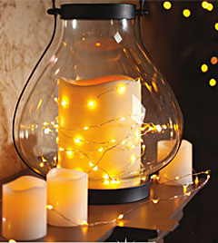 60 warm white led string lights battery operated 20 feet with timer. Black Bedroom Furniture Sets. Home Design Ideas