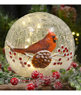 lighted crackle glass cardinal 6 inch battery operated - Christmas Decorations Battery Operated Candles